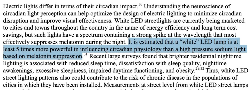 """LED light is 5 times more powerful in influencing circadian physiology"""